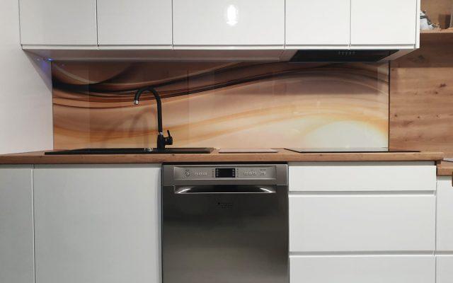 panel szklany kuchnia abstrakcja fala beige