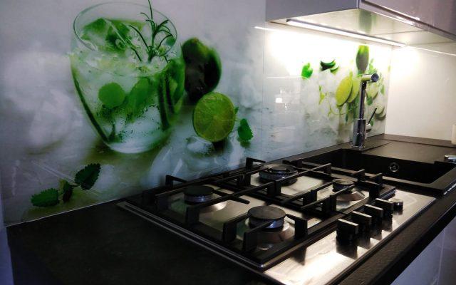 panel szklany kuchnia cytryna mieta limonka woda