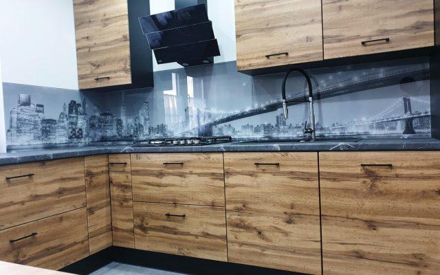 panel szklany kuchnia drewno balc white new york miasto