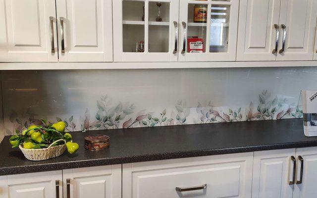 panel szklany kuchnia kwiaty listki optiwhite