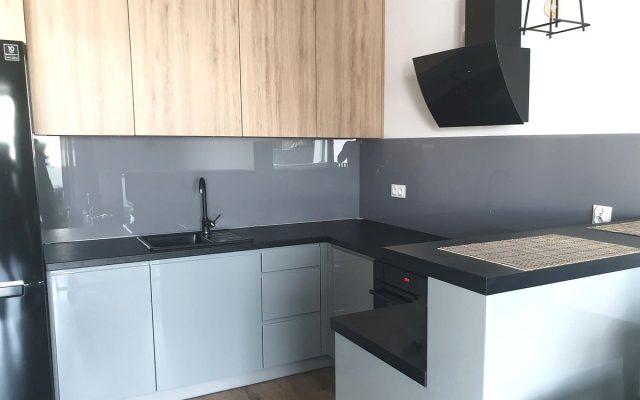 panel szklany kuchnia lakobel szary biala