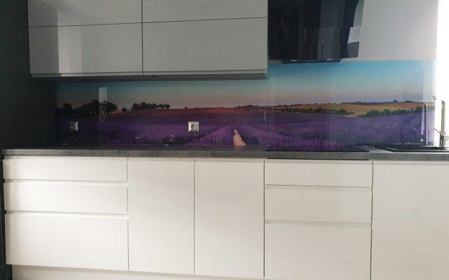 panel szklany kuchnia lawenda pole widok 01
