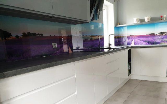 panel szklany kuchnia lawenda pole widok 02