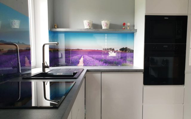 panel szklany kuchnia lawenda pole widok 03