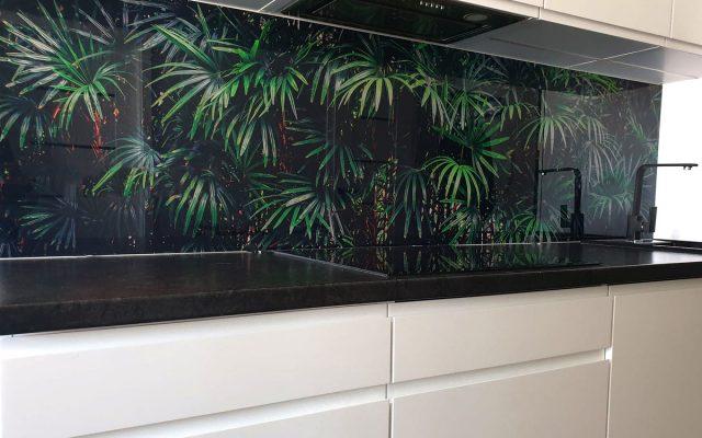 panel szklany kuchnia palma czarna bialy