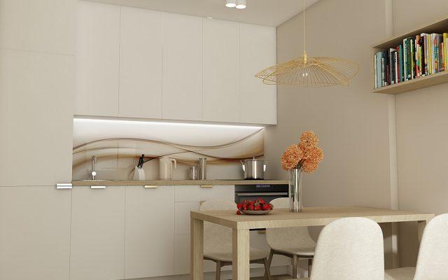 panel szklany kuchnia studio bialy fala abstrakcja bezowy concept