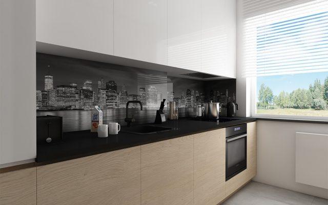 panel szklany kuchnia studio bialy miasto szary concept