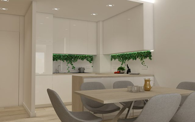 panel szklany kuchnia studio bialy zielony liscie concept