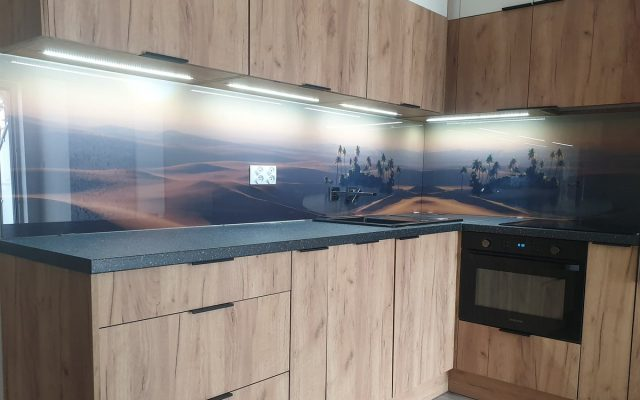 panel szklany kuchnia widok pustynia
