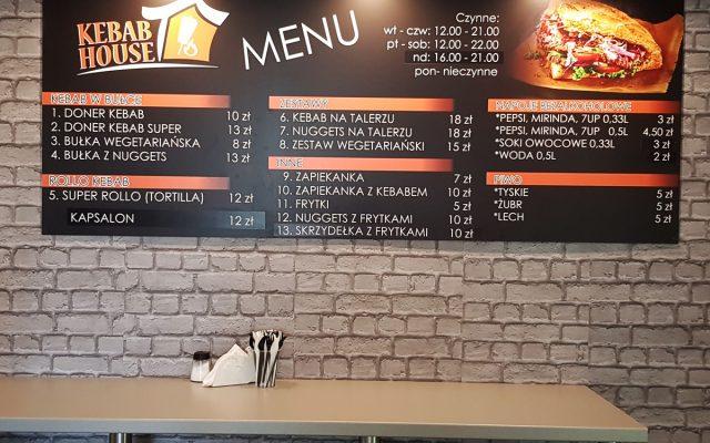 wydruk uv tablica menu kebab