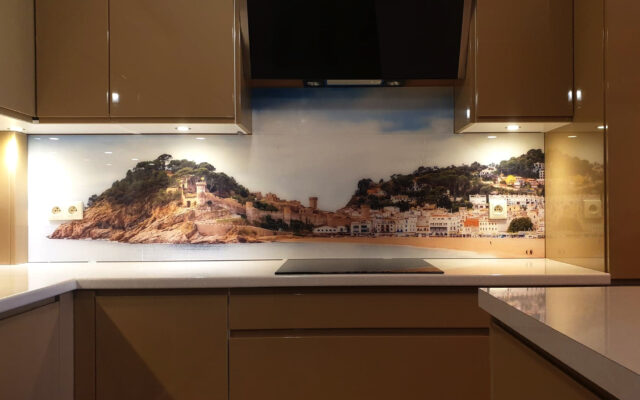 panel szklany kuchnia widok wyspa morze