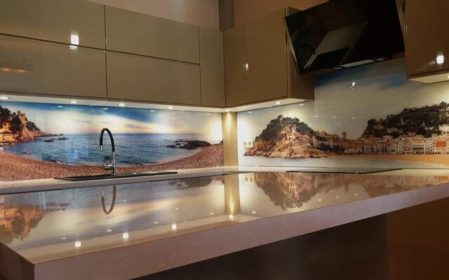 panel szklany kuchnia widok wyspa morze plaza komplet